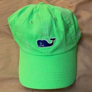 VINEYARD VINES Whale Lime Green Adjustable Dad Cap
